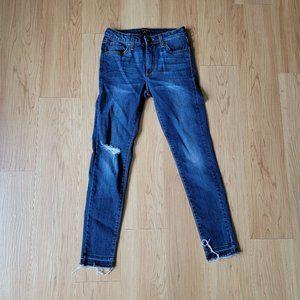 Just Black Ripped Knee Dark Blue Skinny Jeans